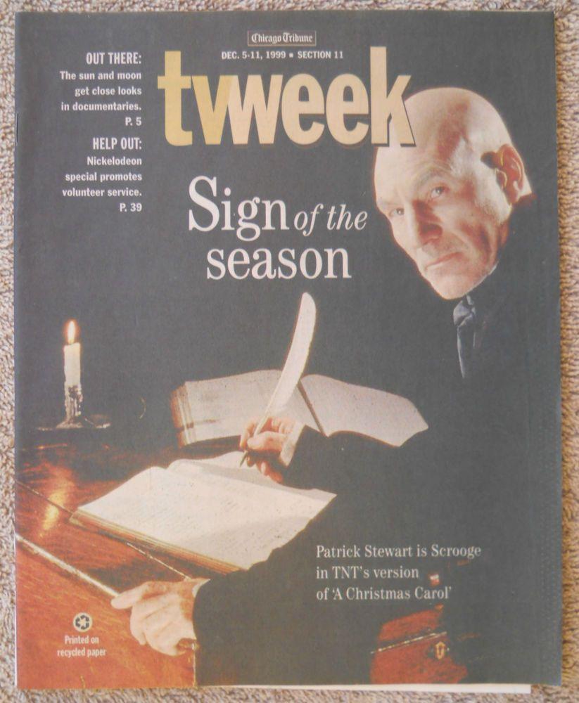 Patrick Stewart A CHRISTMAS CAROL Chicago Tribune TV Week guide Dec 5 - 11 1999   Christmas ...