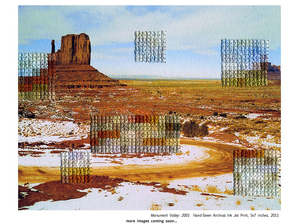 """According to the artist, Diane Meyer's Time Spent That Might Otherwise Be Forgotten """"is based on photographs taken at various points in my life and arranged by location. Sections of the images have been obscured through a layer of embroidered pixels sewn directly into the photograph. The embroidery deteriorates sections of the original photograph forming a new pixelated layer of the original scene."""