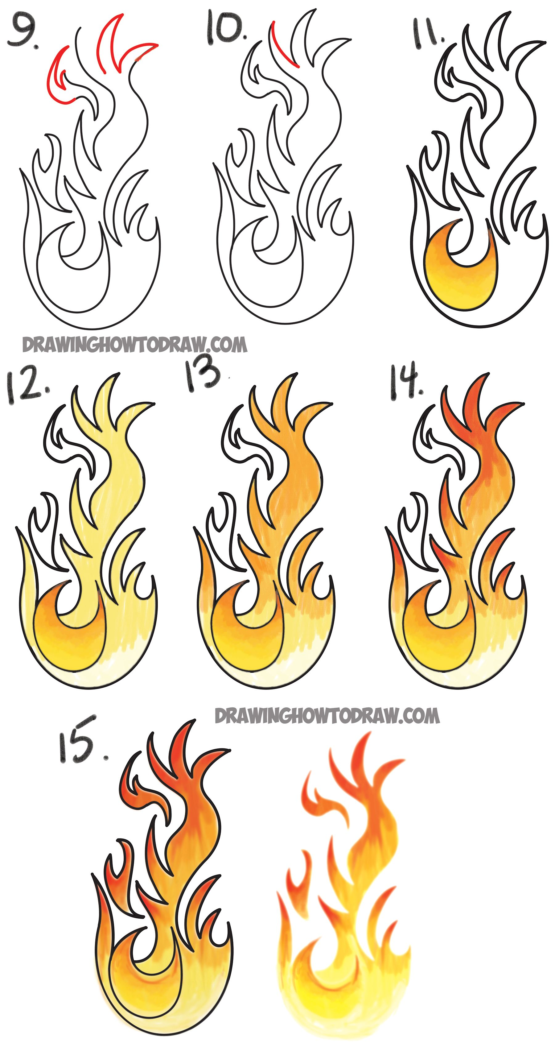 draw flames simple pictures easy drawings and drawing sketches