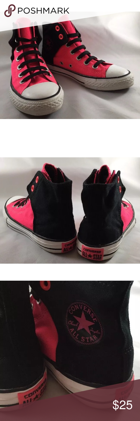 99e721989210 Girls converse high top pink black sneakers Converse all stars - very gently  used shoes - big girl size 2 - Velcro Converse Shoes Sneakers