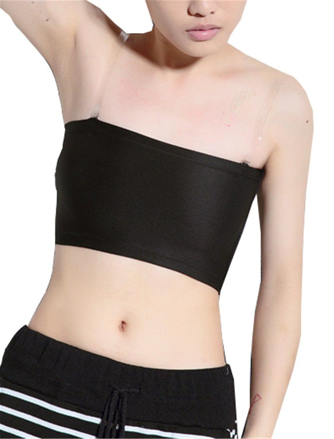 3 rows clasp super flat les lesbian compression tube top strapless