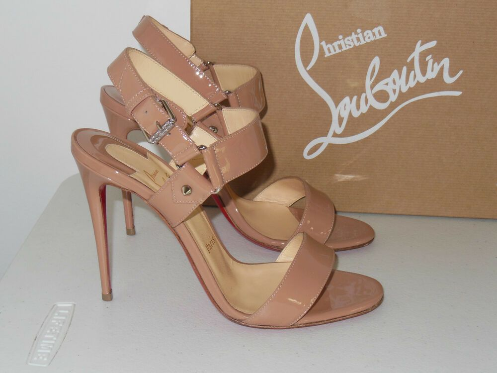 a52c552b1c2 ENDING SOON: CHRISTIAN LOUBOUTIN NUDE SOVA 100 PATENT LEATHER OPEN ...