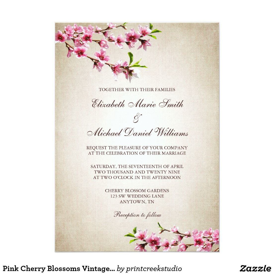 Pink Cherry Blossoms Vintage Tan Wedding 5x7 Paper Invitation Card