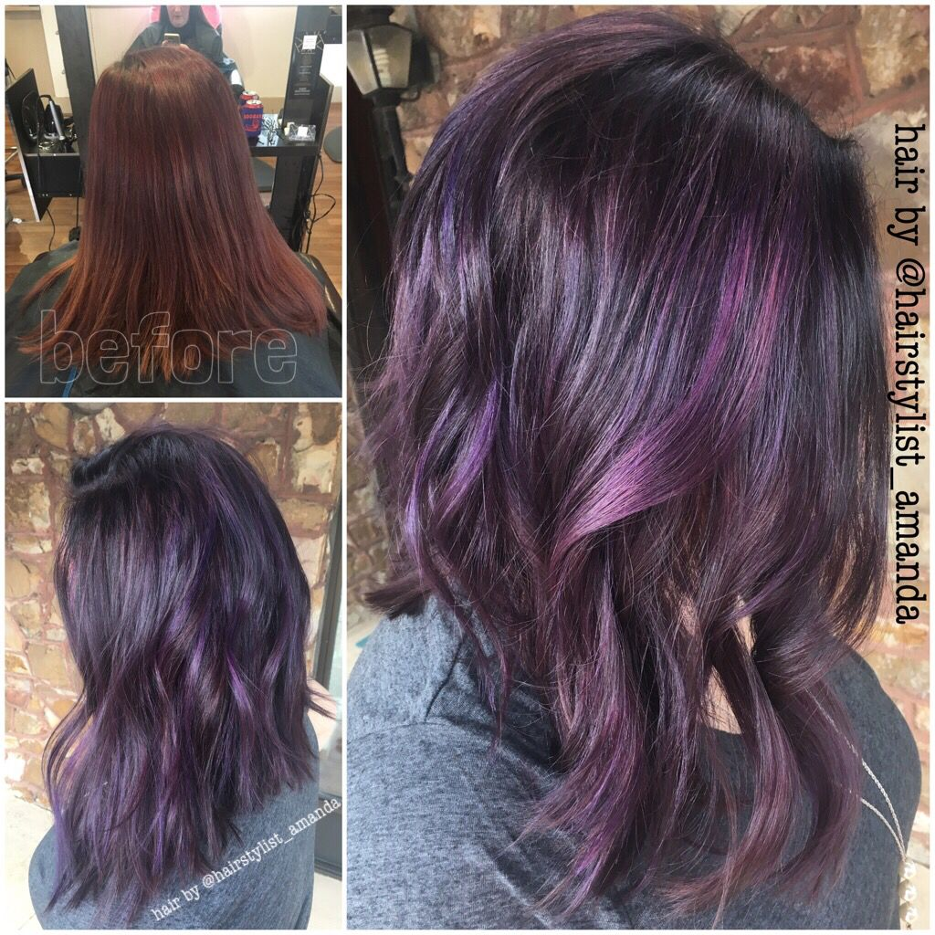Dark Brown With Purple Highlights Ig Hairstylist Amanda Purple Highlights Brown Hair Lilac Hair Blackberry Hair Colour