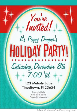 funny christmas party invitations retro woman reverse - Funny Christmas Party Invitations