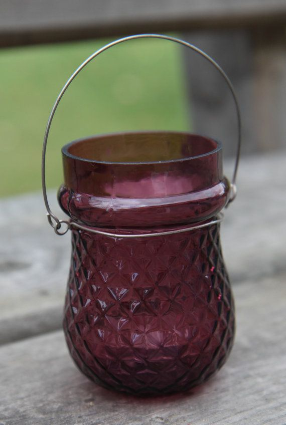 Purple Glass Tealight Votive Hanging Candle by AlmaStreetShop