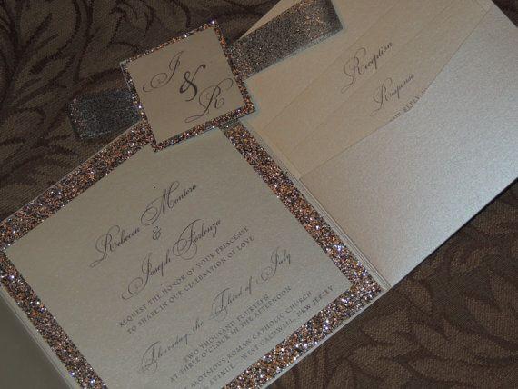 Glitter Wedding Invitation Sparkle Wedding by MagicBeyondMidnight $8.25