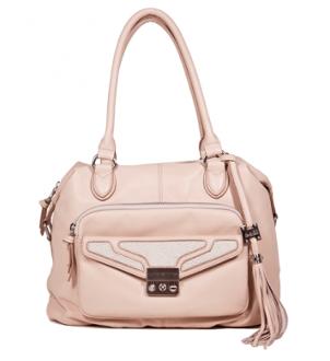 a soft whisper of blush color on this sweet shoulder bag.