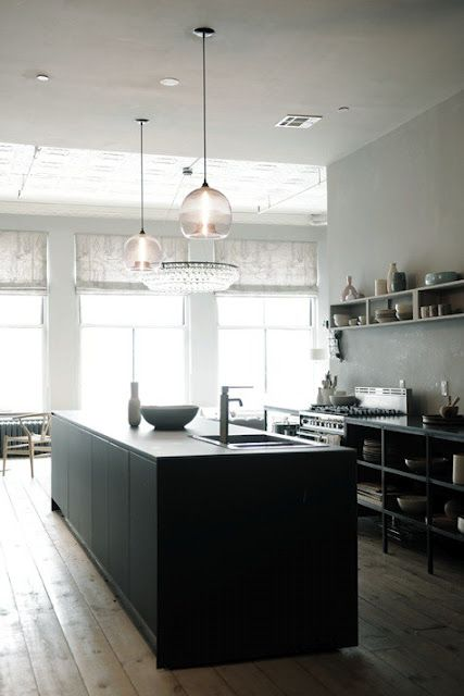 Fab open cabinets and island.  Love the pendant lights as well.
