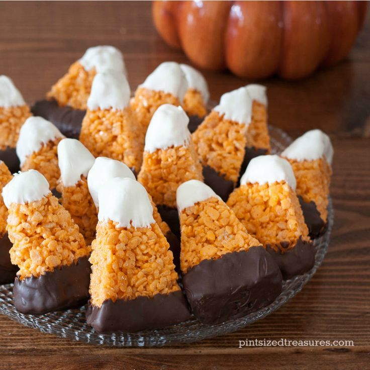 Chocolate Dipped Candy Corn Rice Crispy Treats Recipe Candy corn - halloween cooking ideas