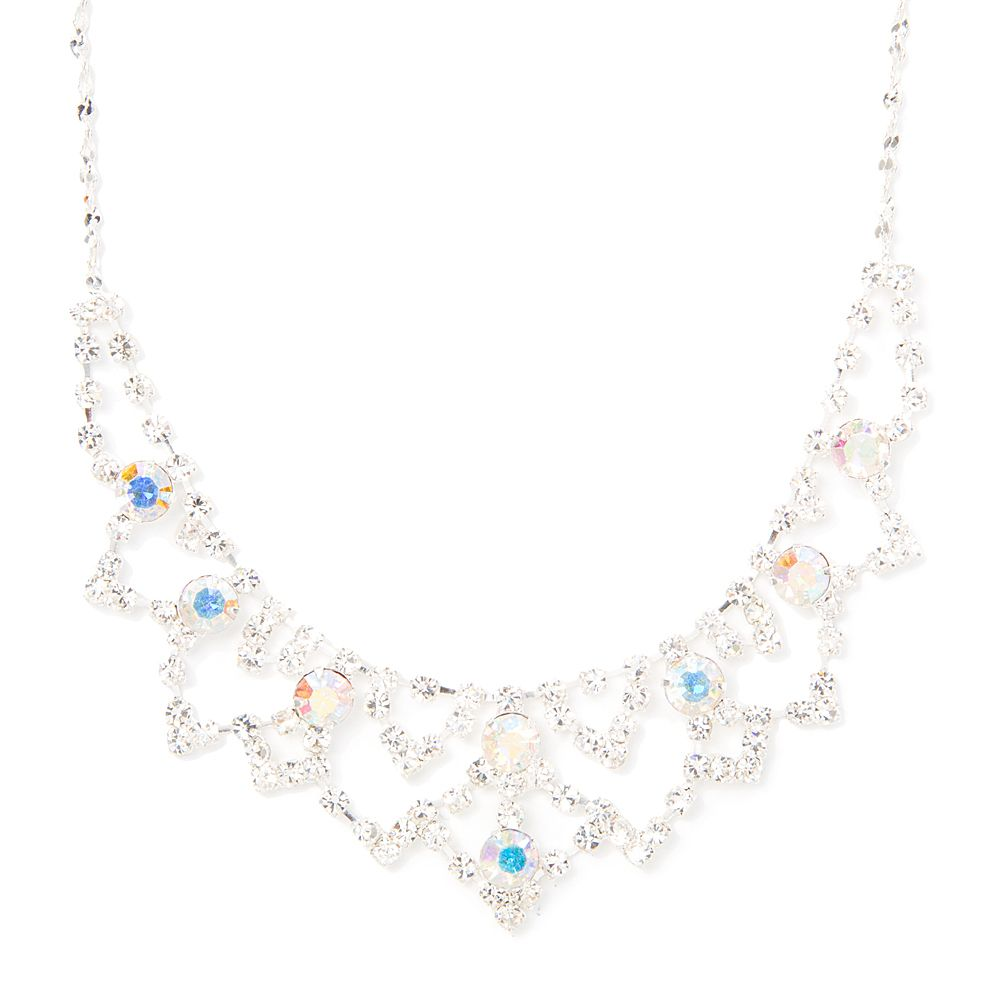 Rhinestone and Aurora Borealis Crystal Triangle Scallop Statement Necklace | Claire's