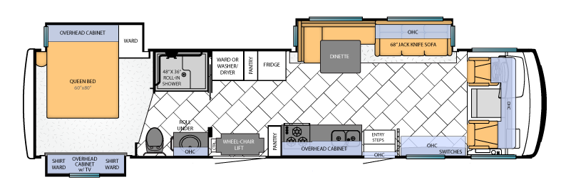 Accessible TV floorplan, has transfer in shower with bench across from roll under sink with cabinets & higher toilet with grab bars