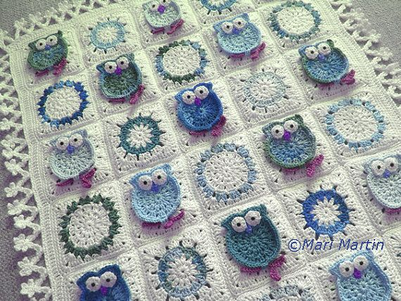Owl Blanket Crochet Pattern Fantasy Newborn Baby Colorful Kids Baby