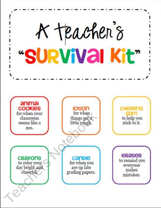 GIFT Teacher Survival Kit Tags - for a New Teacher or Student ...