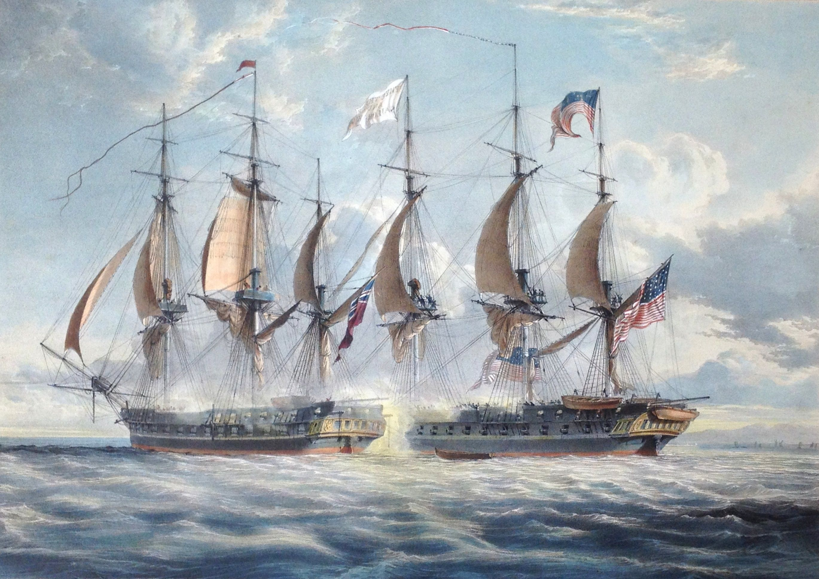 h m s shannon commencing the battle with the american frigate chesapeake on the 1st june. Black Bedroom Furniture Sets. Home Design Ideas