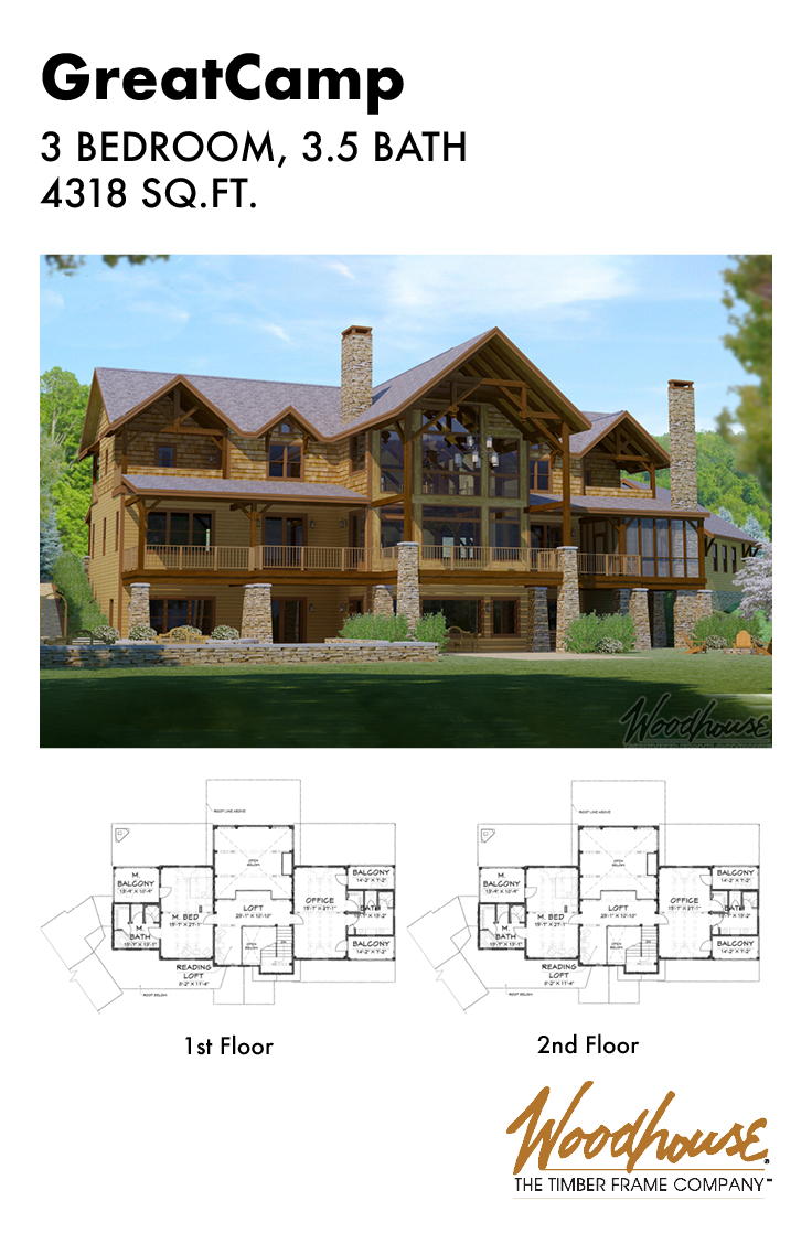 This Massive Adirondack Style Home Has 4 318 Square Feet And Is Built To Impress Download The Floor Custom Built Homes Timber Frame Homes House Floor Plans