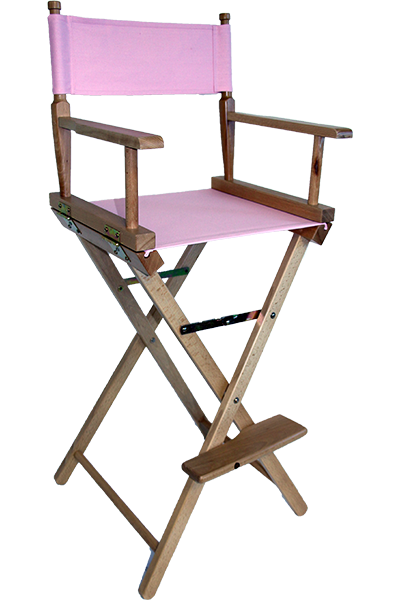 The Tall Directors Chair In Pine Wood With A Pink Canvas