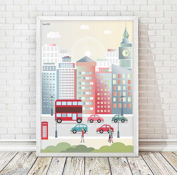 London print, city print,Cityscape, art print,Skyline London ...