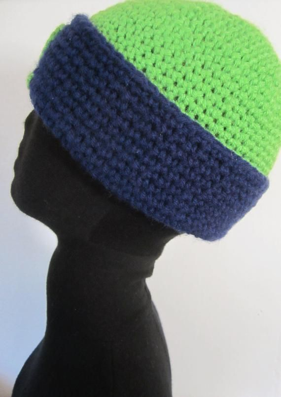 12cd8259af93a9 Seahawks Beanie-Hat 12th-Man-Fan - hand crochet in Seahawks colors. Bright  green and navy blue. Su