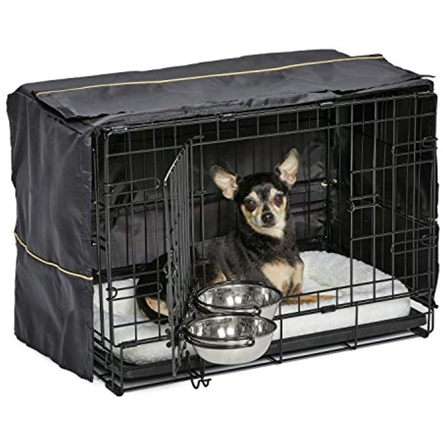 Midwest Homes For Pets Dog Crate Starter Kit One 2 Door Icrate Pet Bed Crate Cover And 2 Pet Bowls 22 Inch Ideal Fo Dog Crate Cover Dog Crate Crate Cover
