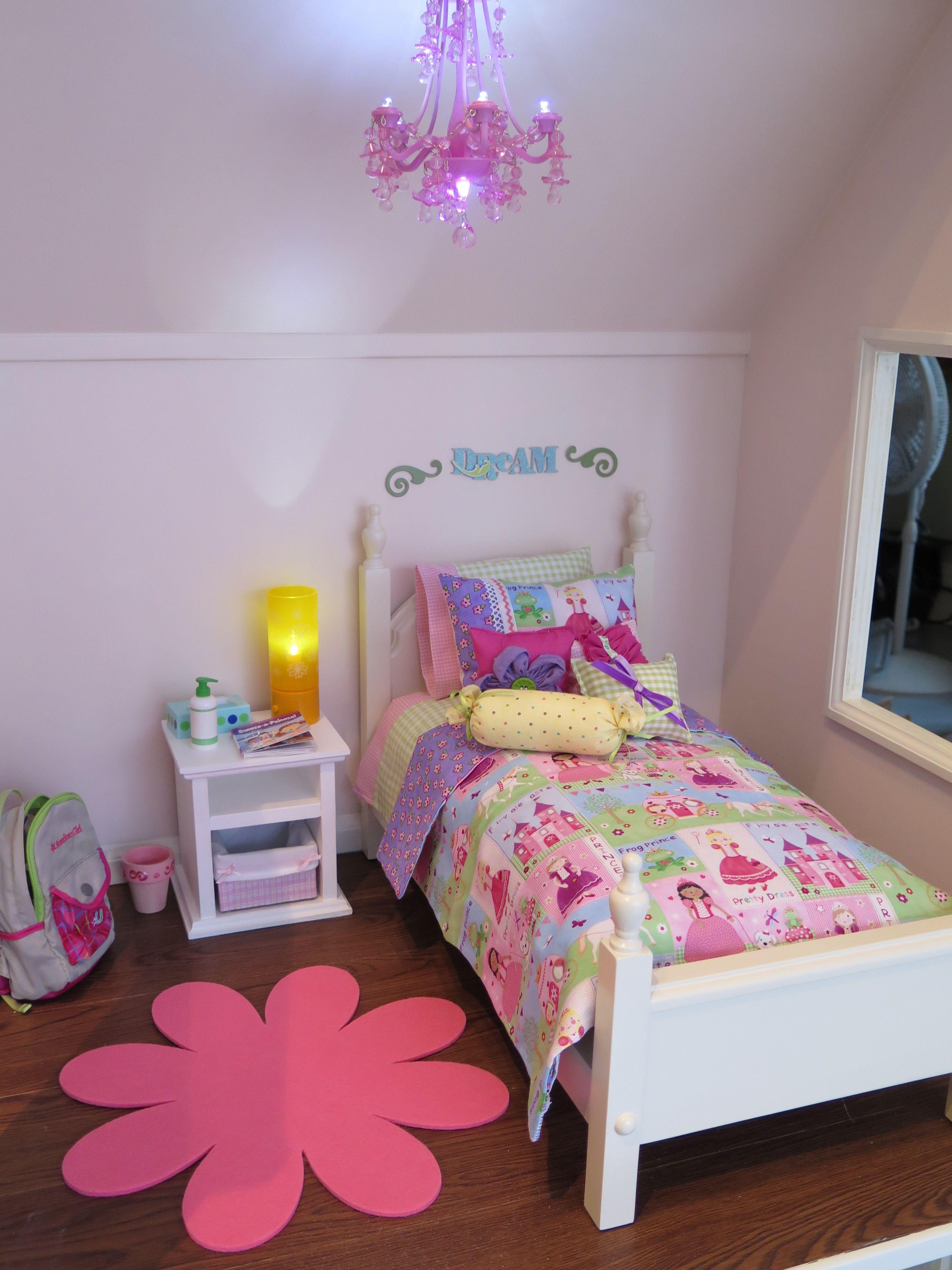 American girl bedroom decor bed bedding bedside table