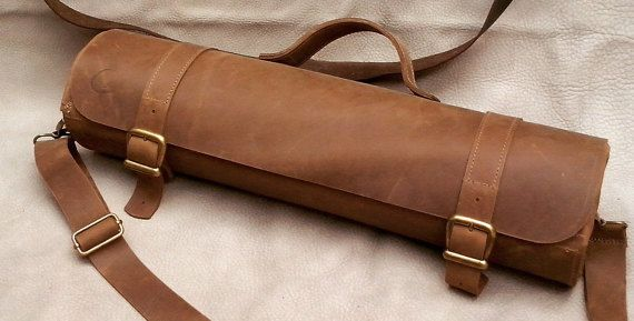 brown leather knife roll, chef knife case, chef knife roll, chef