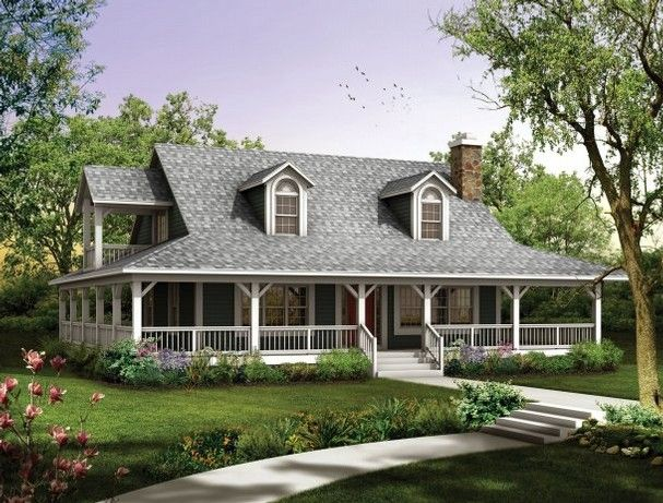 Houses With Porches All The Way Around Country Home With A