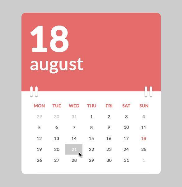 Html Calendar Templates  Free Html Psd Css Format Download