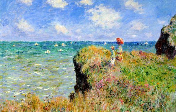 Wallpaper claude painting, landscape, sea, boat