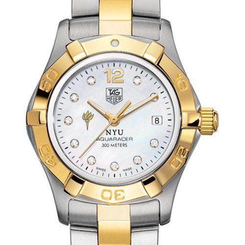 NYU TAG Heuer Watch Womens Two Tone Aquaracer Watch with Diamond Dial