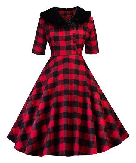 9dcf7f943c Sucrefas Red   Black Buffalo Check Oversize-Collar Fit   Flare Dress - Women