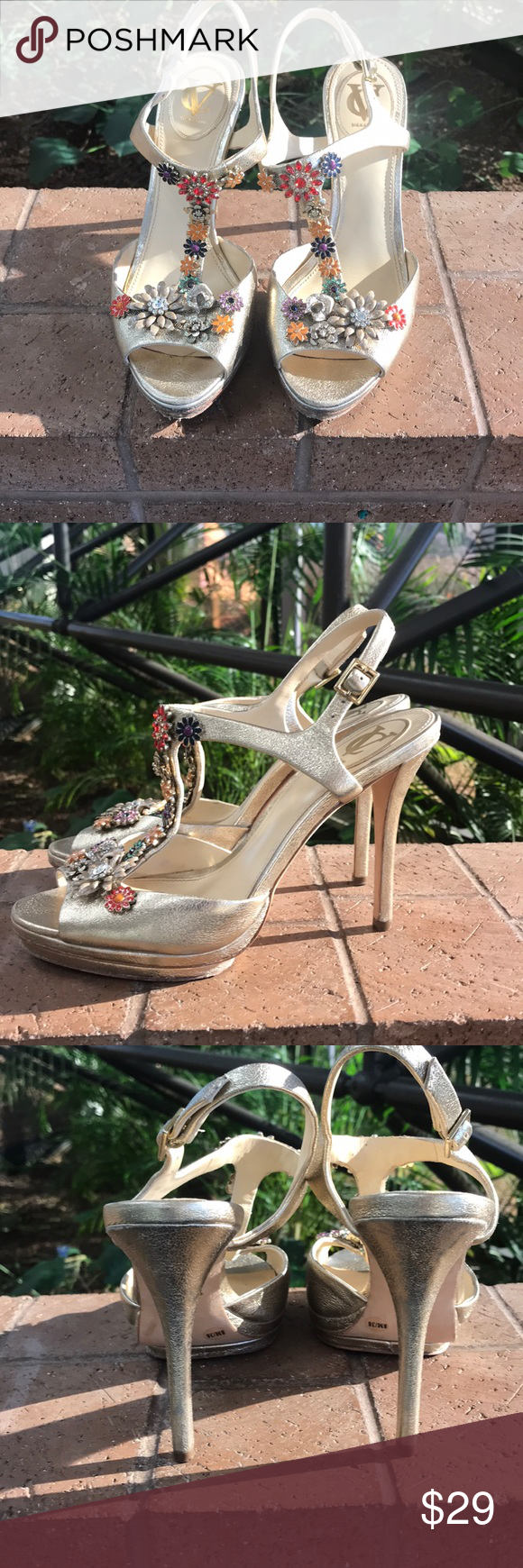 94f1de848bd Vince Camuto Signature Gold Heel Size 8 Jeweled Vince Camuto Signature Gold  Heel Size 8 Jeweled Amina Washed Metallic. Shoes do have some scuffs on the  heel ...