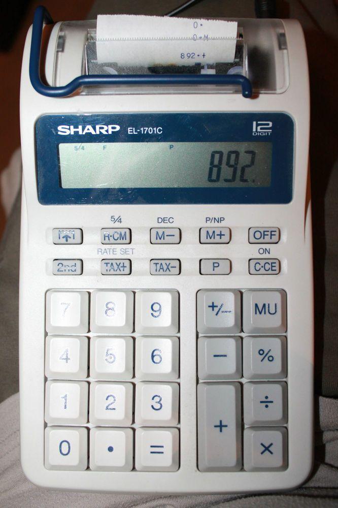 sharp el 1701c semi desktop electronic printing calculator with rh pinterest com sharp el-1701c calculator instructions Sharp EL Printing Calculator 1630