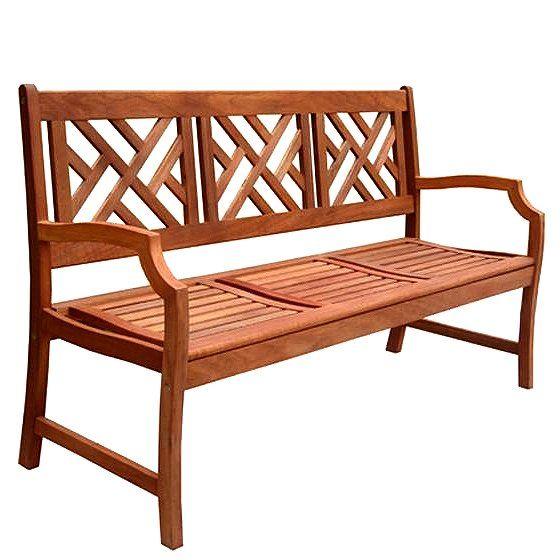 Teak Type 3 Seater Chippendale Garden Bench