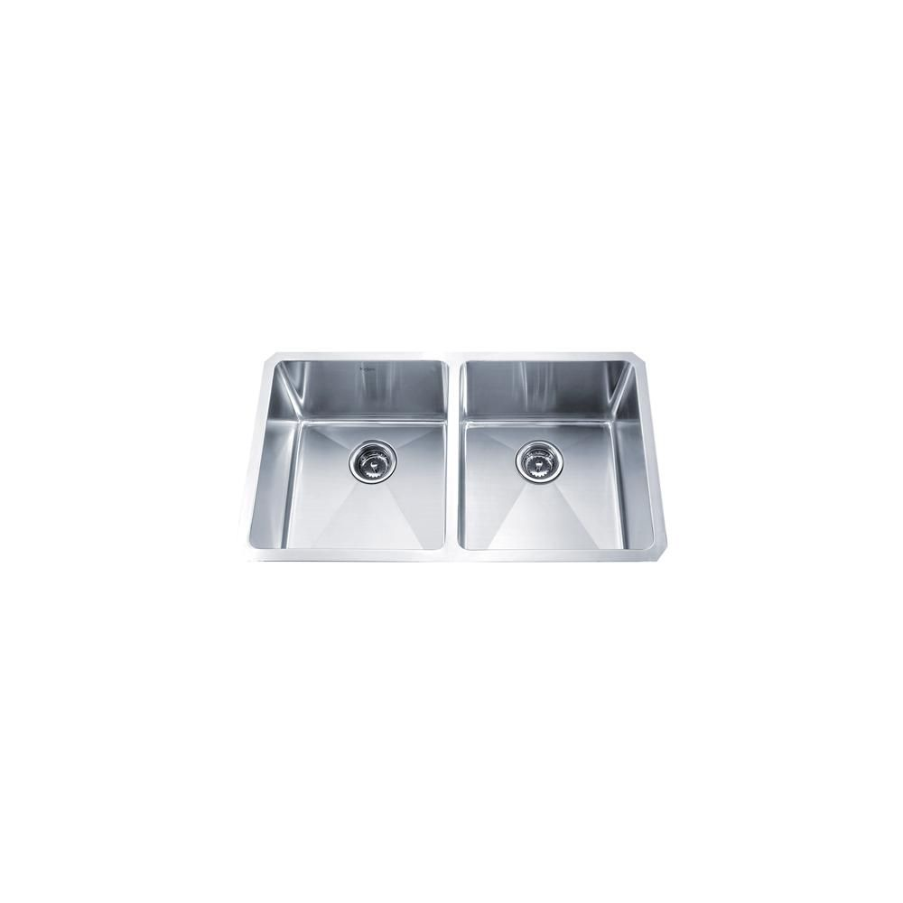KRAUS | 33 Inch Undermount 50/50 Double Bowl 16 gauge Stainless ...