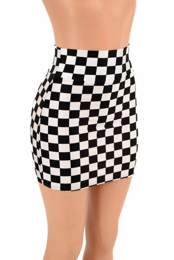 9a64d6a2392e5e Black   White Check Print UV Glow Stretchy Spandex Bodycon Skirt 16