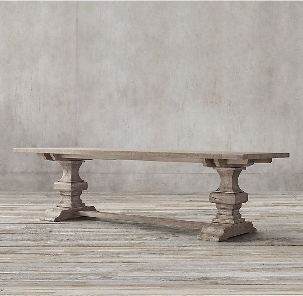 0414d98448edc RH s Reclaimed Russian Oak Baluster Rectangular Extension Dining Table Handcrafted  of solid reclaimed white oak timbers from decades-old buildings in Russia  ...