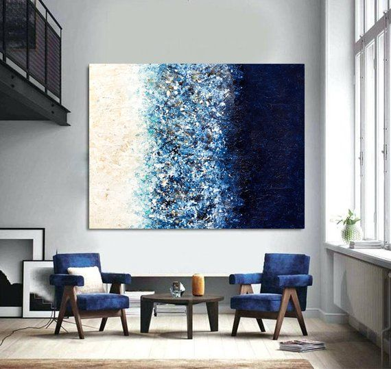 Large Wall Art Navy Blue Art Painting On Canvas Abstract Etsy Blue Art Painting Blue Wall Art Modern Art Abstract