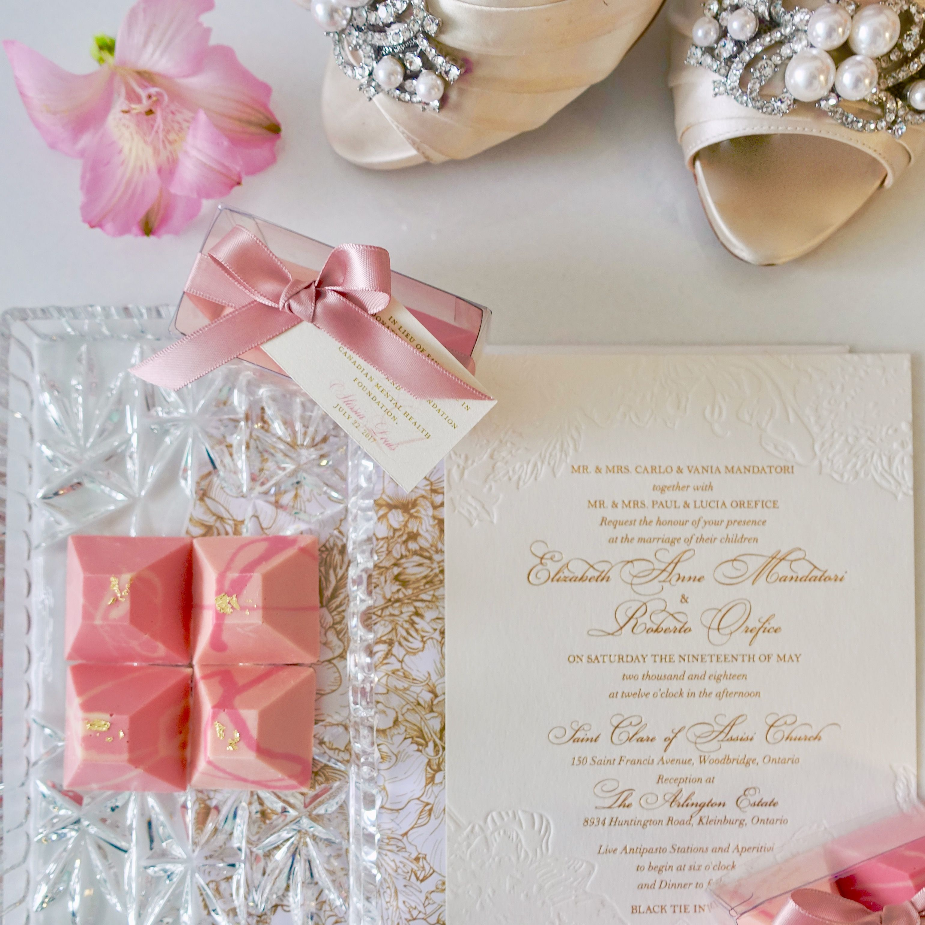 Chocolate Ombre Pyramids Blush wedding favour by Succulent