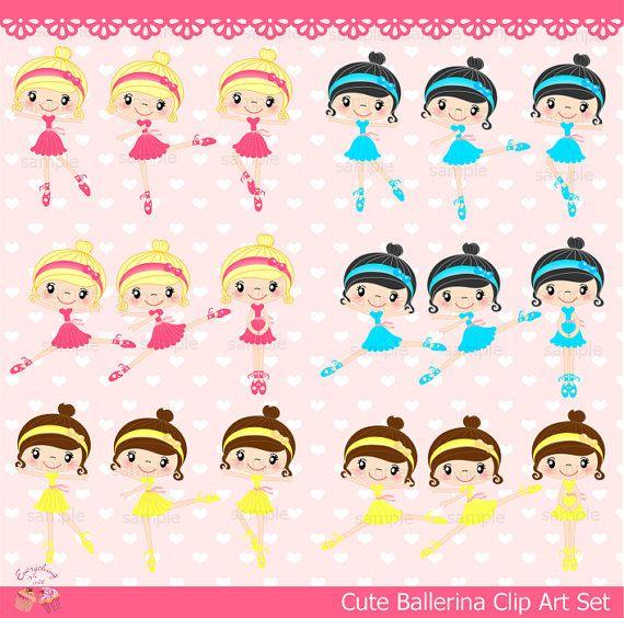 Cute Ballerina Clip Art Set by 1EverythingNice on Etsy