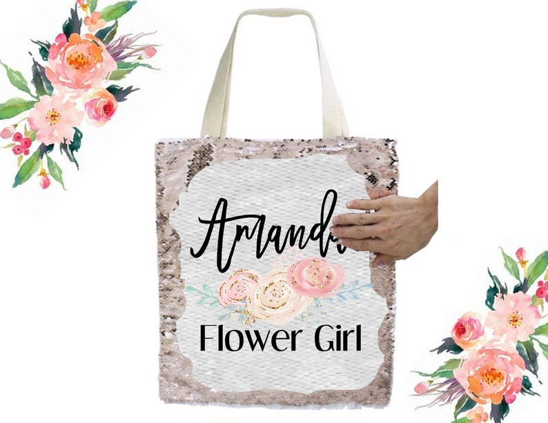 Sequined Flower Girl Tote Bag