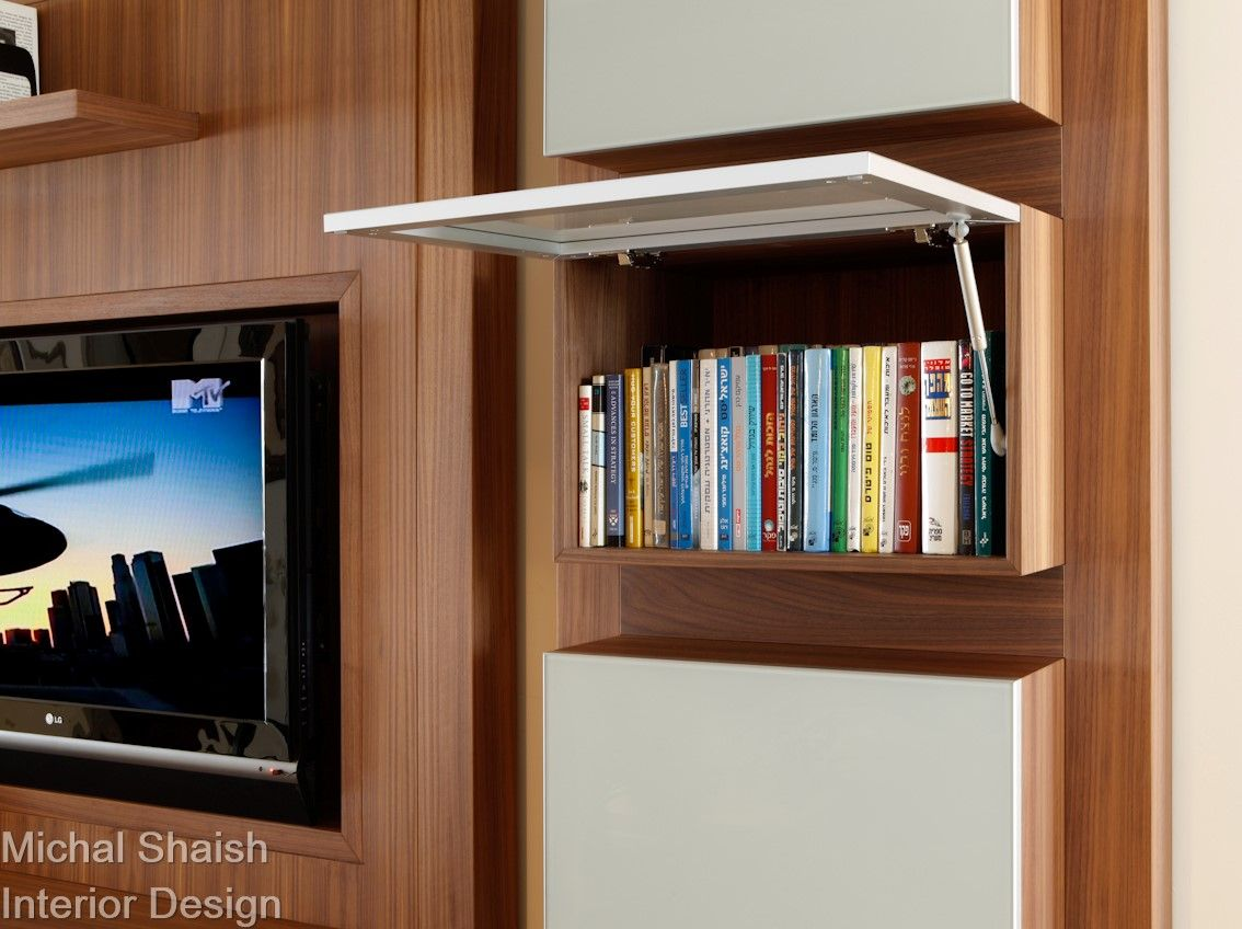 Library hidden storage tv unit walnut furniture m for Tv in furniture hidden