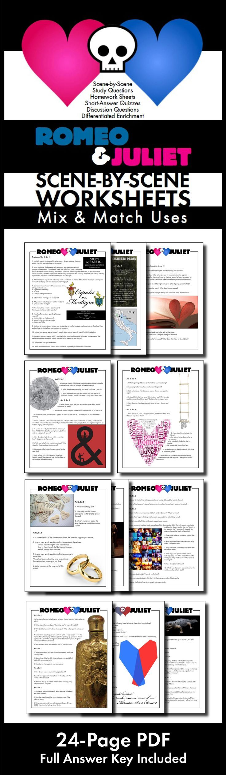worksheet Romeo And Juliet Timeline Worksheet use this visually stunning package of scene by questions romeo juliet worksheets quizzes homework discussion for shakespeares play