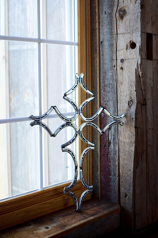 Elegant Rustic Welded Metal Horse Shoe Cross