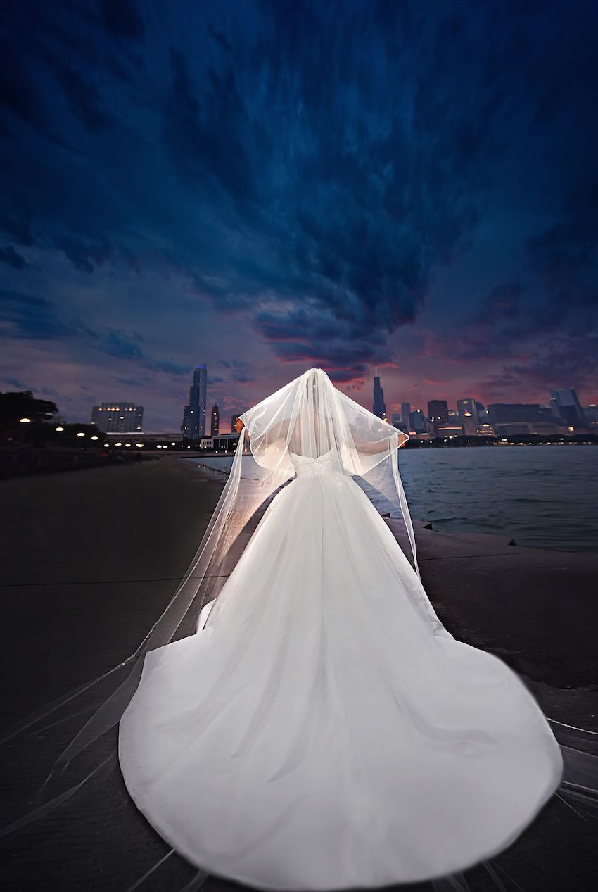 Chicago wedding dress shops  City Wedding at Chicago Planetarium with Purple  Yellow Palette