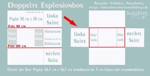 Doppelte Explosionbox mit Anleitung und passender Karte zur Hochzeit #konzertkartenverpacken