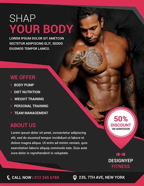 Free Download Fitness and Gym PSD Photoshop Flyer Template from - fitness flyer template