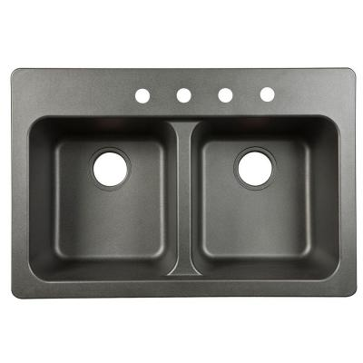 Kindred Dual Mount Granite Composite 33 In 4 Hole Double Bowl