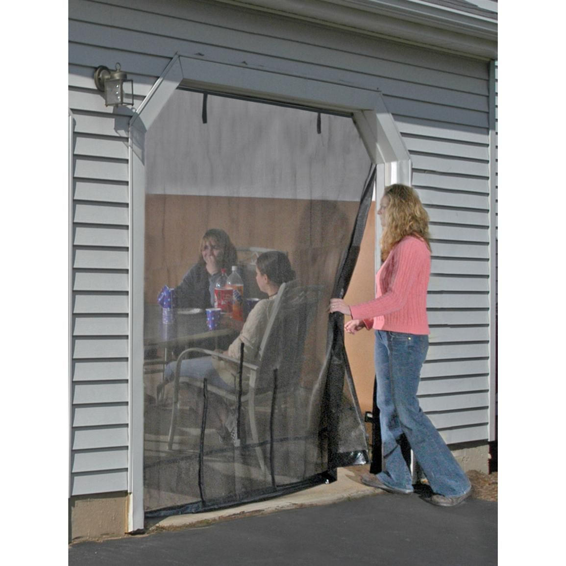 screen passage lifestyle roll garage enclosures up a contains retractable door pin system