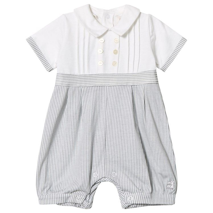 ff701666280a Grey and White Jersey Collared Romper
